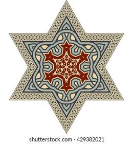 Vintage ornament with David star motif
