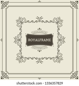Vintage Ornament Greeting Card Vector Template. Retro Luxury Invitation, Royal Certificate. Flourishes frame. Vintage ornament, Ornamental Frame.