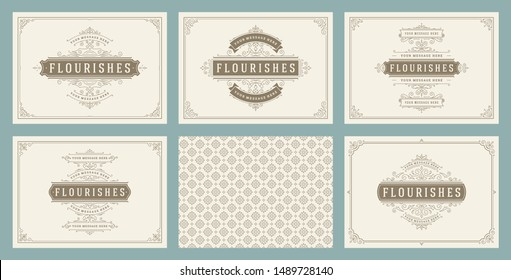 Vintage ornament greeting cards set templates flourish ornate frames and pattern background vector illustration for wedding invitations, greeting cards or other design and place for text.