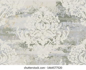 Vintage ornament pattern Vector. Baroque rococo texture luxury design. Royal textile decors. Old painted effect. Gray concrete background