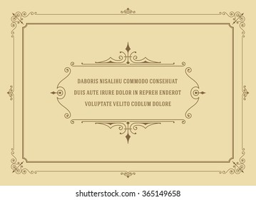 Vintage Ornament Quote Marks Box Frame Vector Template Design And Place For Text Retro Flourishes