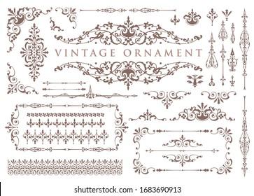 vintage ornament set. floral decorative frames and borders.