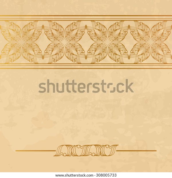 Vintage ornamental background with a space for a text. There is a seamless border in the brush palette