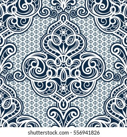 Vintage ornamental background, vector lace texture, damask seamless pattern