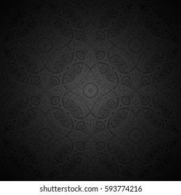 Vintage ornamental black background, dark vector swirls pattern