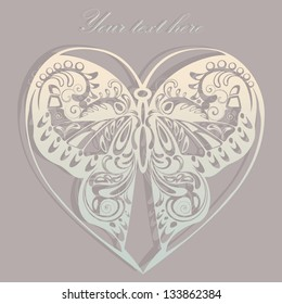 Vintage ornamental butterfly. Greeting card design.