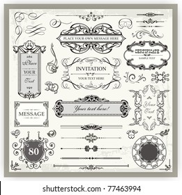 Vintage Ornamental Calligraphic Designs Set