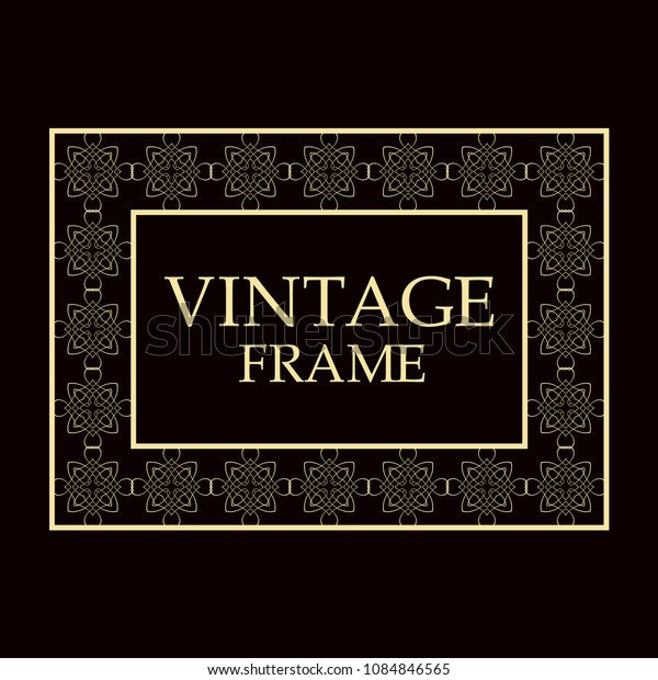 Vintage ornamental decorative label frame. Retro template for design