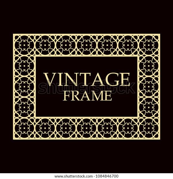 Vintage ornamental decorative label frame. Retro template for design