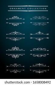 Vintage Ornamental Design Elements. Vector Flourish Vintage Embellishments for Greeting Cards. Collection of Filigree Frame. Vintage book vignettes, dividers, corners and separators set.