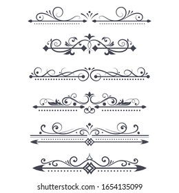 Vintage ornamental dividers. Typographic decorations isolated on white background. Vector illustration