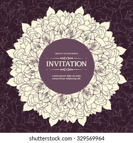 Vintage ornamental frame floral background design. Vector illustration. Template greeting card invitation banner label with flowers. Linear floral wreath on seamless floral background
