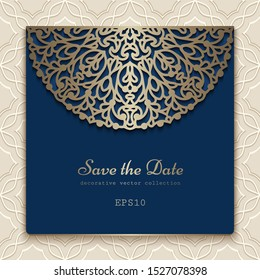 Vintage ornamental frame with gold lace pattern, cutout paper decoration for wedding invitation or save the date card design. Vector template for laser cutting. Place for text.
