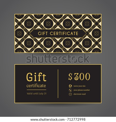 vintage ornamental gift certificate vector editable stock vector