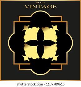 Vintage ornamental golden retro frame. Template for design.