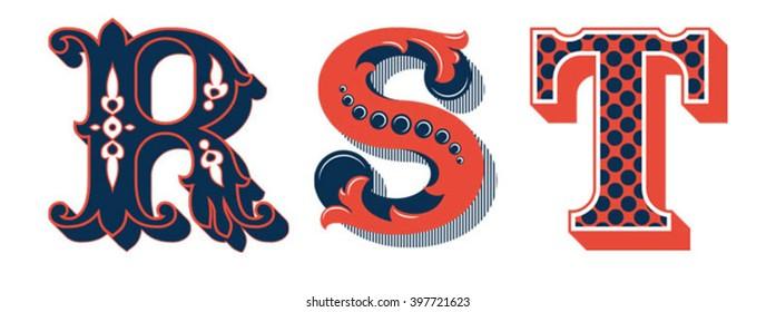 Vintage ornamental initials