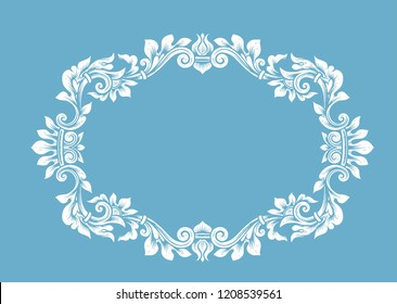 Vintage ornamental o-shaped frame.Vector. Empty Border, oval wreath place for text. Horizontal edging Ornate swirl leaves barocco antique style. Decorative retro floral elliptical ornamental engraving