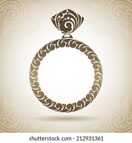 Vintage ornamental ring with diamond . Decorative icon on a background with pattern