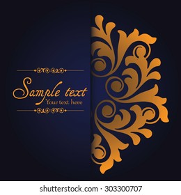 Vintage ornamental template with pattern and decorative frame. Vector illustration.