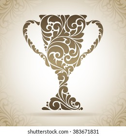 Vintage ornamental trophy  first place winner cup award symbol icon design element on pattern background. Vector Illustration for logo, banner, poster, business sign, identity, branding