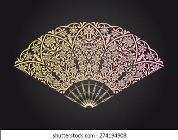 Vintage ornamented fan