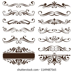 Vintage ornaments design elements floral curlicues white background curbs frame corners stickers illustration of white background illustration