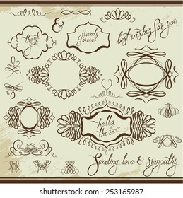 Vintage ornaments and frames, vignettes, calligraphic design elements for cards and invitation, page decoration, calligraphic text.