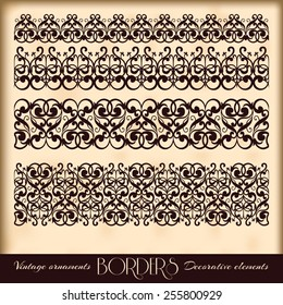 Vintage ornaments, and page decoration, exclusive, highest quality, retro style set of ornate floral patterns template