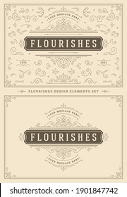 Vintage ornaments swirls and vignettes decorations design elements set vector illustration. Flourishes calligraphic combinations for retro logos, greeting cards, luxury crests, frames and invitations.