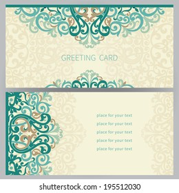 Vintage ornate cards in east style. Colorful Victorian floral decor. Template frame for greeting card and wedding invitation. Ornate vector border and place for your text.