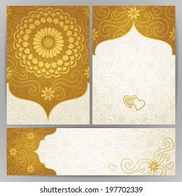 Vintage ornate cards with flowers and curls. Golden Victorian floral decor. Template frame for greeting card and wedding invitation. Ornate vector border in east style. Place for your text.