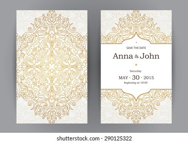 Vintage ornate cards in oriental style. Line art  Eastern floral decor. Template frame for birthday and greeting card, wedding invitation. Vector golden border, place for text. Easy to use, layered.