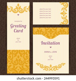 Vintage ornate cards with Victorian elements. Yellow decor with floral ornaments. Template ornamental frame for greeting card and wedding invitation. Filigree vector border and place for your text.