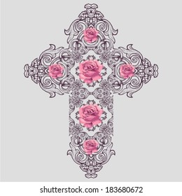 Vintage Ornate Christian Cross Vector pink roses.