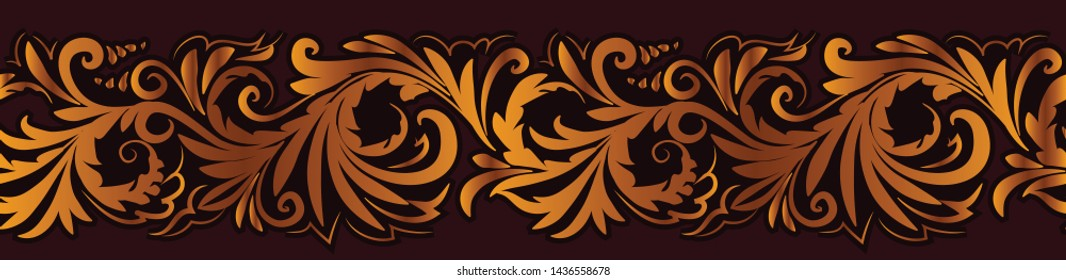 Vintage ornate floral seamless border pattern in russian traditional style of hohloma.  Golden ornament on black background.