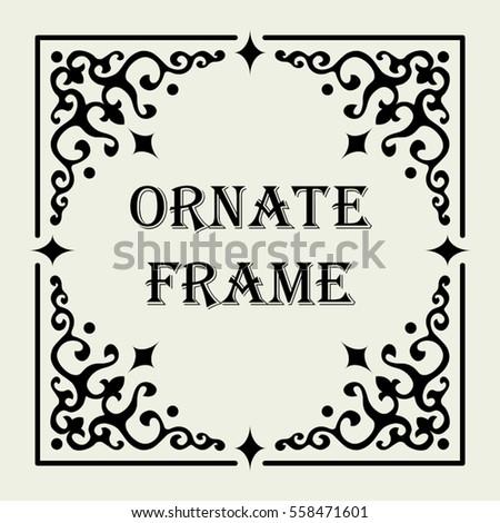 Vintage Ornate Frame Vector Design Text Stock Vector (Royalty Free ...