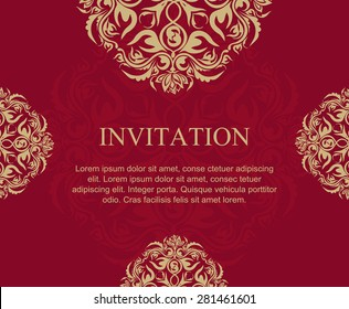 Vintage ornate invitation and label in east style. - Vector illustration