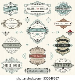 Vintage ornate labels, signs, banners and frames. Vector illustration.