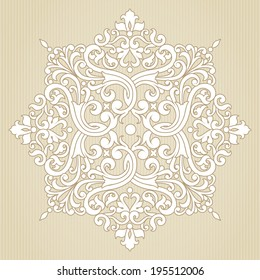 Vintage ornate pattern. Floral baroque ornament in Victorian style. Traditional ornament and element for design. Lacy decor for greeting card and wedding invitations.