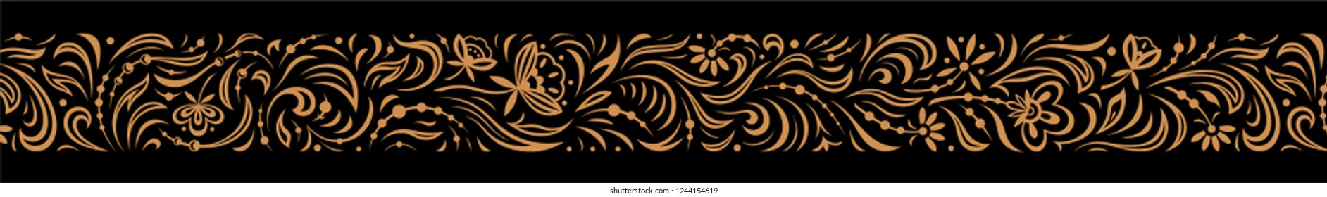 Vintage ornate seamless border pattern in russian traditional style. Golden openwork narrow ornament of leaves and flowers on black background