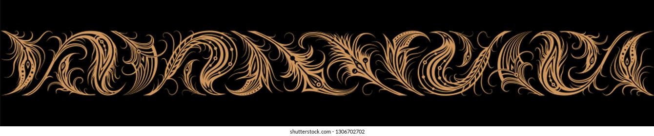 Vintage ornate seamless border pattern in russian traditional style. Golden ornament of feathers of firebird on black background