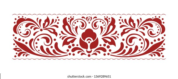 Vintage ornate seamless border pattern in russian traditional folk style. Swirl floral pattern design element set. Ornamental flourish border. Ethnic floral ornament. Isolated vector illustration