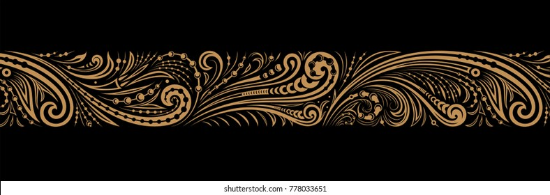 Vintage ornate seamless border pattern in russian traditional style. Golden ornament of curls and spirals on black background