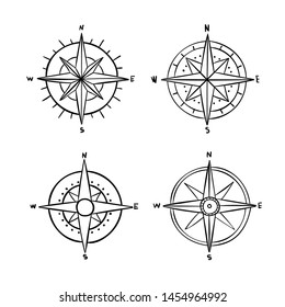 Vintage outlined compasses collection. Vector set.