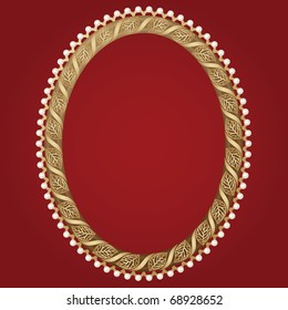 Vintage oval gold frame with leaves and pearls