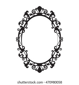 Vintage oval mirror frame - vector illustration