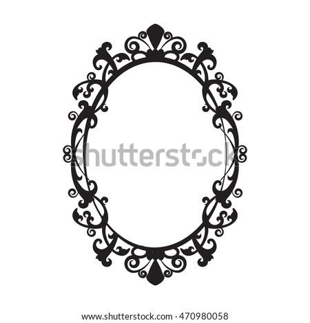 Vintage Oval Mirror Frame Vector Illustration Stock Vector (Royalty ...