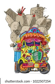 An vintage overloaded indian lorry is full of cargo. An indian truck covered with traditional decoration elements.  Cartoon. Caricature.