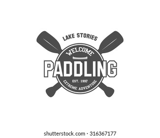Vintage paddling, kayaking, canoeing camp logo, labels and badges. Stylish Monochrome outdoor design. Outdoor activity theme. Can be use for camp, equipment store. Vector illustration