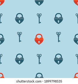 Vintage padlock and key on a blue background. Vector, seamless pattern.